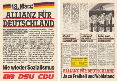 """05.02.1990: """"Allianz für Deutschland"""" geht als konservatives Wahlbündnis bei der Volkskammerwahl ins Rennen."""