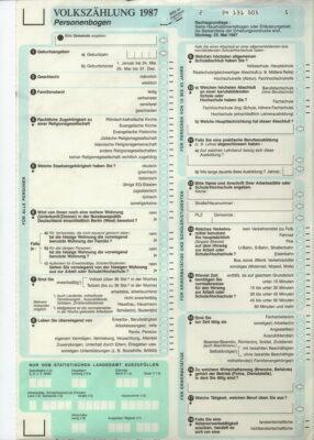 Personenbogen der Volkszählung 1987