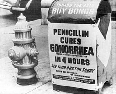 Historische Werbung für Penicillin als Therapie der Geschlechtskrankheit Gonorrhoe
